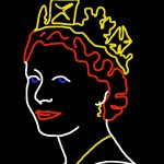 """Danny Mooney 'Proposal for a neon sculpture of Queen Elizabeth II - 3/4"""" iPad drawing"""