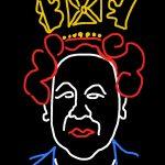 """Danny Mooney 'Proposal for a neon sculpture of Queen Elizabeth II"""" iPad drawing"""