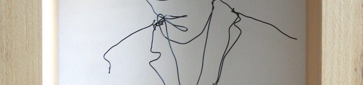 Danny Mooney 'Self portrait - wire' Iron and bronze wire 37.5 x 27 x 9 cm framed