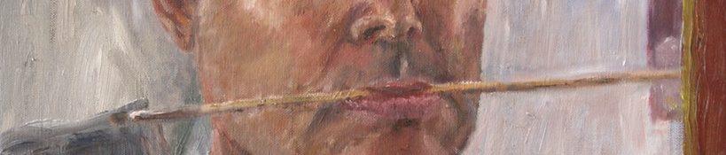 Danny Mooney 'Self portrait with brush' Oil on linen 50 x 40 cm