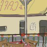 Danny Mooney 'Café Retro, Bath' Digital painting