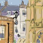 Danny Mooney 'Roman Baths and Abbey, Bath' Digital Drawing
