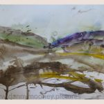 Danny Mooney 'Gold in the hills, 2, April 17' Mixed media on paper 43 x 53 cm