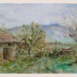 Danny Mooney 'Lane, Palamartsa, April 17' Mixed media on paper 43 x 53 cm