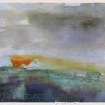 Danny Mooney 'Sundown, Palamartsa, 3, April 17' Mixed media on paper 14.8 x 21 cm
