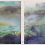 Danny Mooney 'Sundown diptych, Palamartsa, 2, April 17' Mixed media on paper 21 x 30 cm