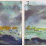 Danny Mooney 'Sundown diptych, Palamartsa, 3, April 17' Mixed media on paper 21 x 30 cm