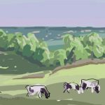 Danny Mooney 'Evening cows, Oxon Hoath' Digital painting
