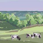 Danny Mooney 'Evening cows, Oxon Hoath' Digital painting