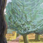 Danny Mooney 'Evening trees' Digital drawing