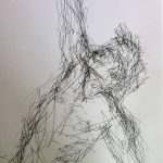 Danny Mooney 'Stretching figure' Pen on paper