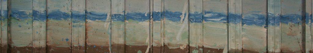 Danny Mooney 'Bottle Alley' Oil on canvas 40 x 120 cm