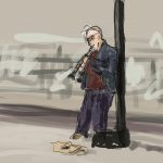 Danny Mooney 'Busker, 15/7/16' iPad painting #APAD