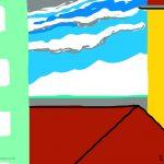 Danny Mooney 'Glimpse of sea, 8/7/2014' iPad painting #APAD