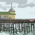 Danny Mooney 'Morning, Hastings Pier, 21/7/2014' iPad drawing #APAD