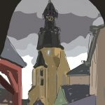 Danny Mooney 'Clock Tower, Dinan, 15/8/2014' iPad drawing #APAD