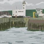 Danny Mooney 'Scarborough lighthouse, 31/7/2014' iPad drawing #APAD