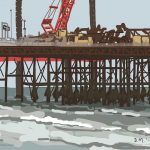 Danny Mooney 'Hastings pier repairs, 21/9/2014' iPad painting #APAD