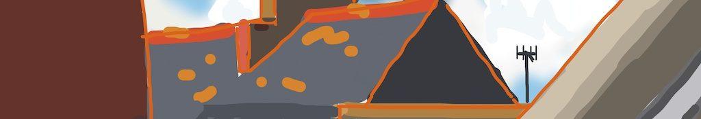 Danny Mooney 'Roof tops, 2/9/2014' iPad drawing #APAD