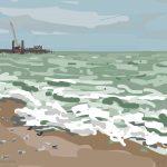 Danny Mooney 'Seagulls on the beach, 7/10/2014' iPad painting #APAD