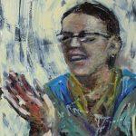 Danny Mooney 'Carol' Oil on Stainless panel 51 x 36 cm