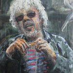Danny Mooney 'Jim' Mixed media on steel panel 38 x 30 cm