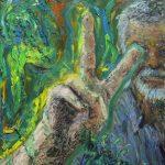 Danny Mooney 'John' Mixed media on Stainless panel 38 x 30 cm