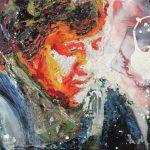 Danny Mooney 'Liz Allen' Mixed media on stainless steel panel 30 x 38 cm