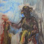 Danny Mooney 'Mick' Oil on stainless steel panel 38 x 30 cm
