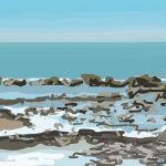 Danny Mooney 'Low tide, rocks, 2/10/2015' iPad painting #APAD