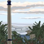 Danny Mooney 'View from Room 1, Pebble beach B and B, daytime, 9/10/2015' iPad painting #APAD