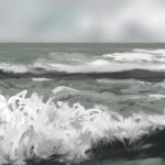 Danny Mooney 'Huge waves, Storm Katy, 28/3/2016' iPad painting #APAD