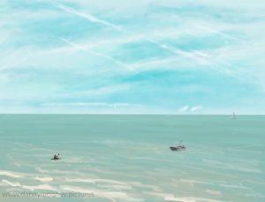 Danny Mooney 'Beach view, 25/7/16' iPad painting #APAPD