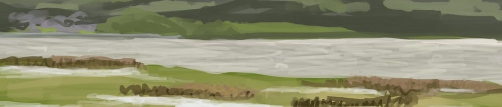 Danny Mooney 'Estuary view, Penrhyndeudraeth, 8/7/16' iPad painting #APAD