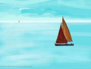 Danny Mooney 'Red boat, 22/7/16' iPad painting #APAD