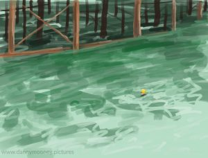 Danny Mooney 'Sea swimming, 22/7/16' iPad painting #APAD