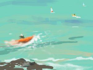 Danny Mooney 'Windsurfing school, 28/7/16' iPad painting #APAPD