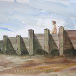 Danny Mooney 'Groyne, 18/7/16' Mixed media on paper 42.0 x 59.4cm