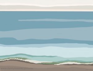 Danny Mooney 'Blue sea and surf, 12/9/16' iPad painting #APAD