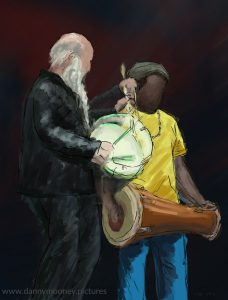 Danny Mooney 'Drumming, 24/9/16' iPad painting #APAD