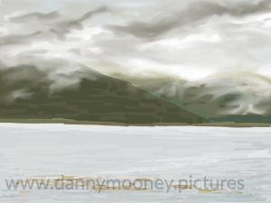 Danny Mooney 'Low cloud, Pennyghail, 21/8/16' iPad painting #APAD