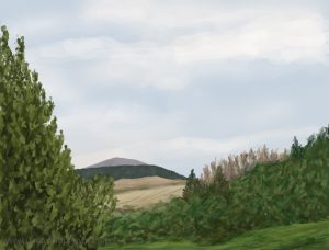 Danny Mooney 'Pennyghael hills, 19/8/16' iPad painting #APAD