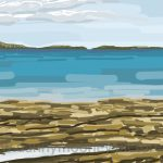 Danny Mooney 'Seahouses, low tide, 26/8/16' iPad painting #APAD