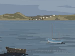 Danny Mooney 'Sound of Mull, evening, 22/8/16' iPad painting #APAD