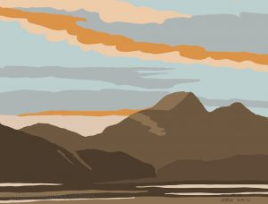 Danny Mooney 'Sunset from Craigrowen, 18/8/16' iPad painting #APAD