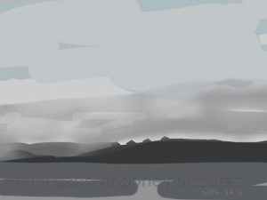 Danny Mooney 'The Sound of Mull, first light, 24/8/16' iPad painting #APAD