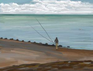 Danny Mooney 'Beach fishing, 22/10/16' iPad painting #APAD