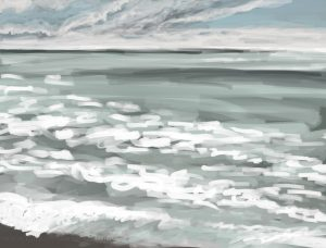 Danny Mooney 'Bright sun, big waves, 1/10/16' iPad painting #APAD