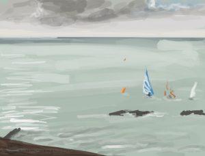Danny Mooney 'Rounding a buoy, 23/10/16' iPad painting #APAD