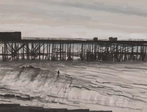 Danny Mooney 'Sketchy pier, 21/10/16' iPad painting #APAD